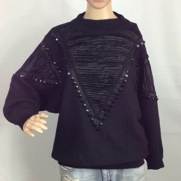 """Vintage Sweaters - bonnie & bill by Italy Mock Neck """"Bling"""" Sweater M"""